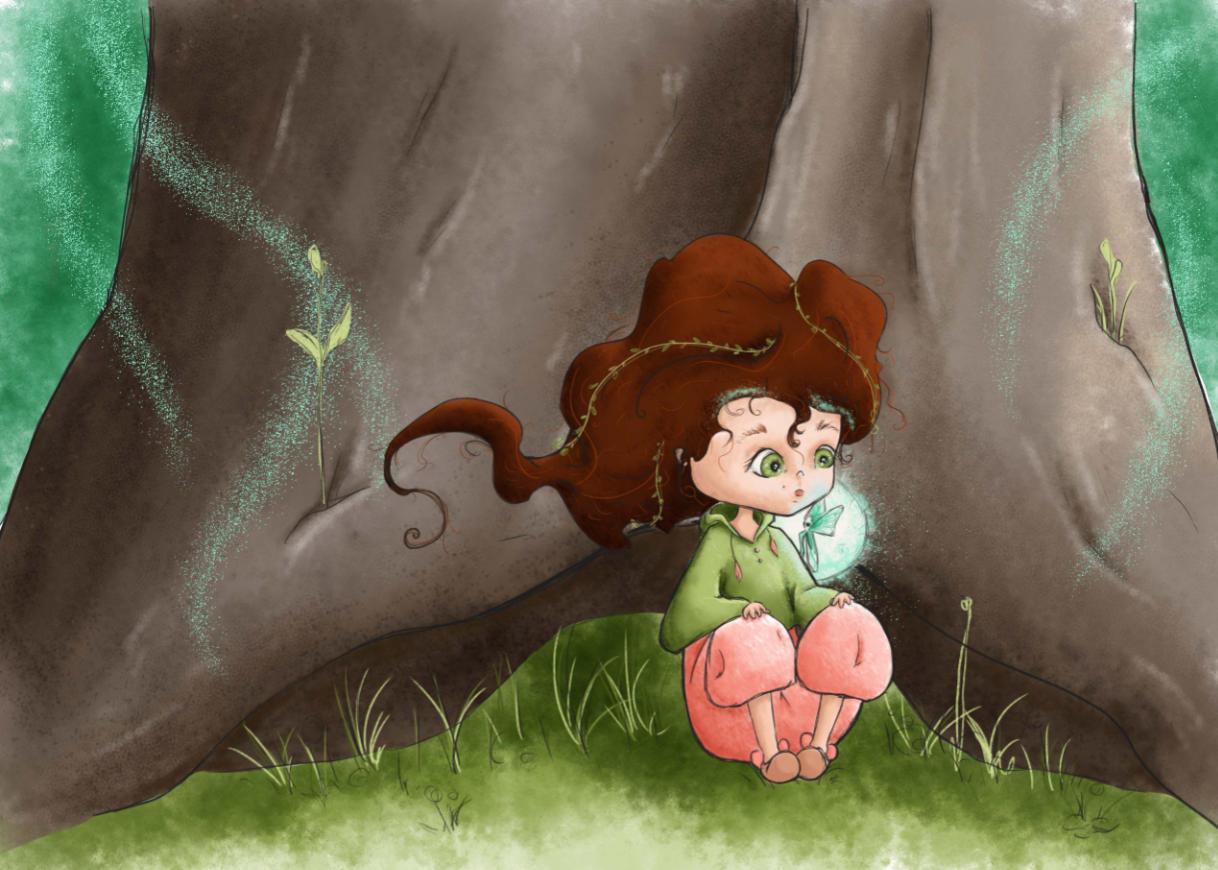 Nina assise dans un arbre avec une fée sur l'épaule