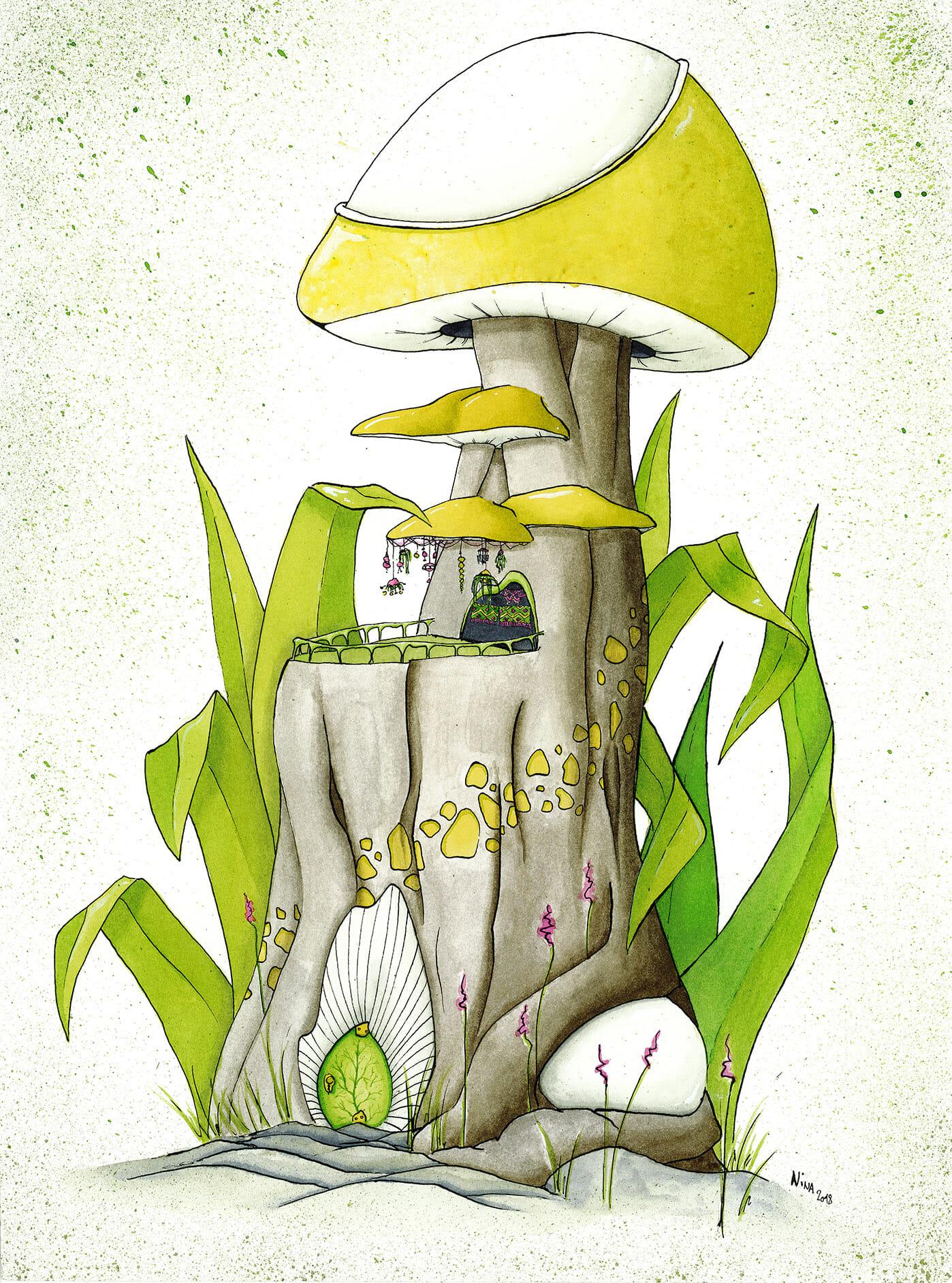 Maison champignon en aquarelle