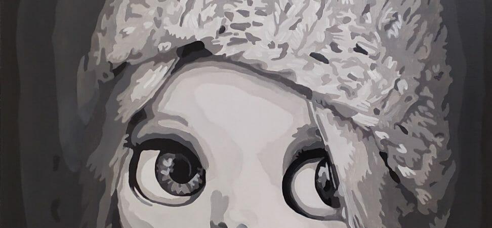 peinture en grisaille d'une fille