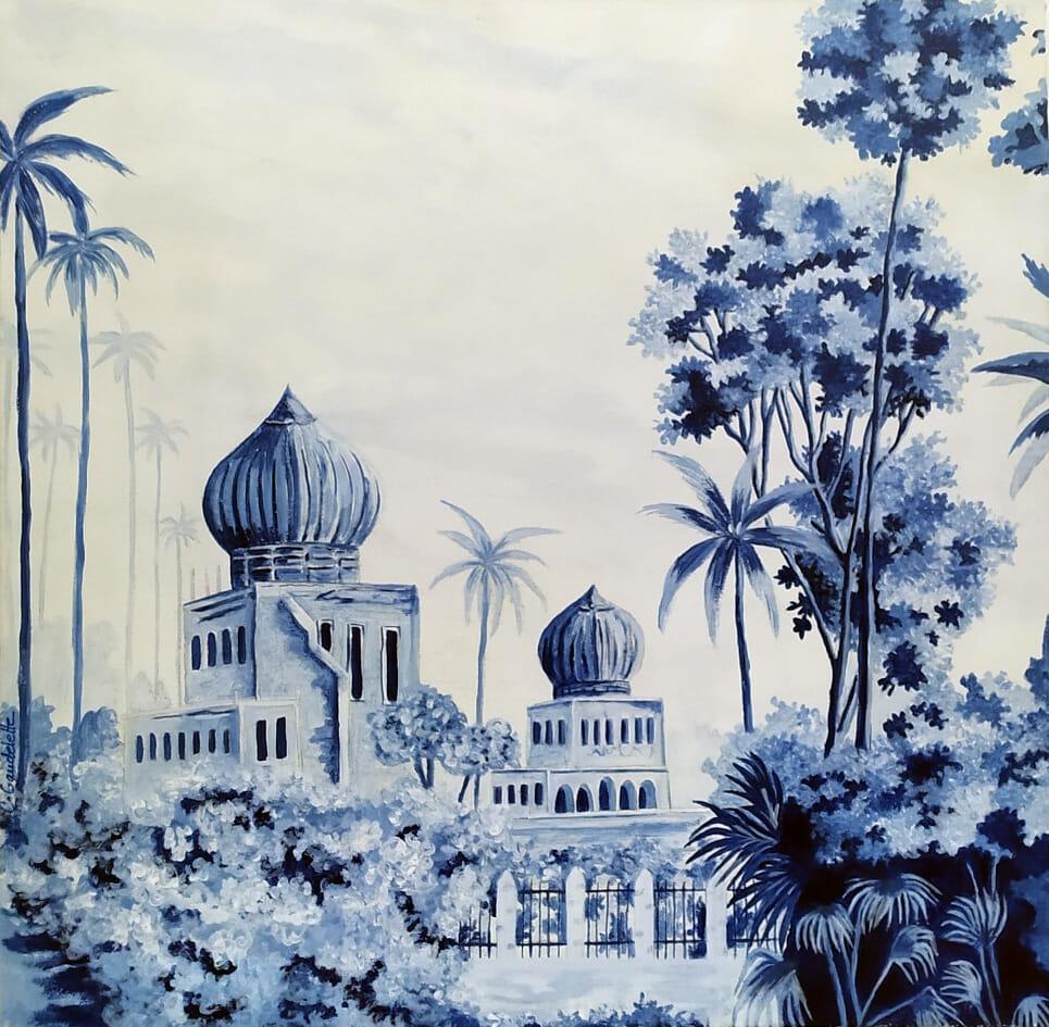 peinture en grisaille bleu de jardin et batiments indien