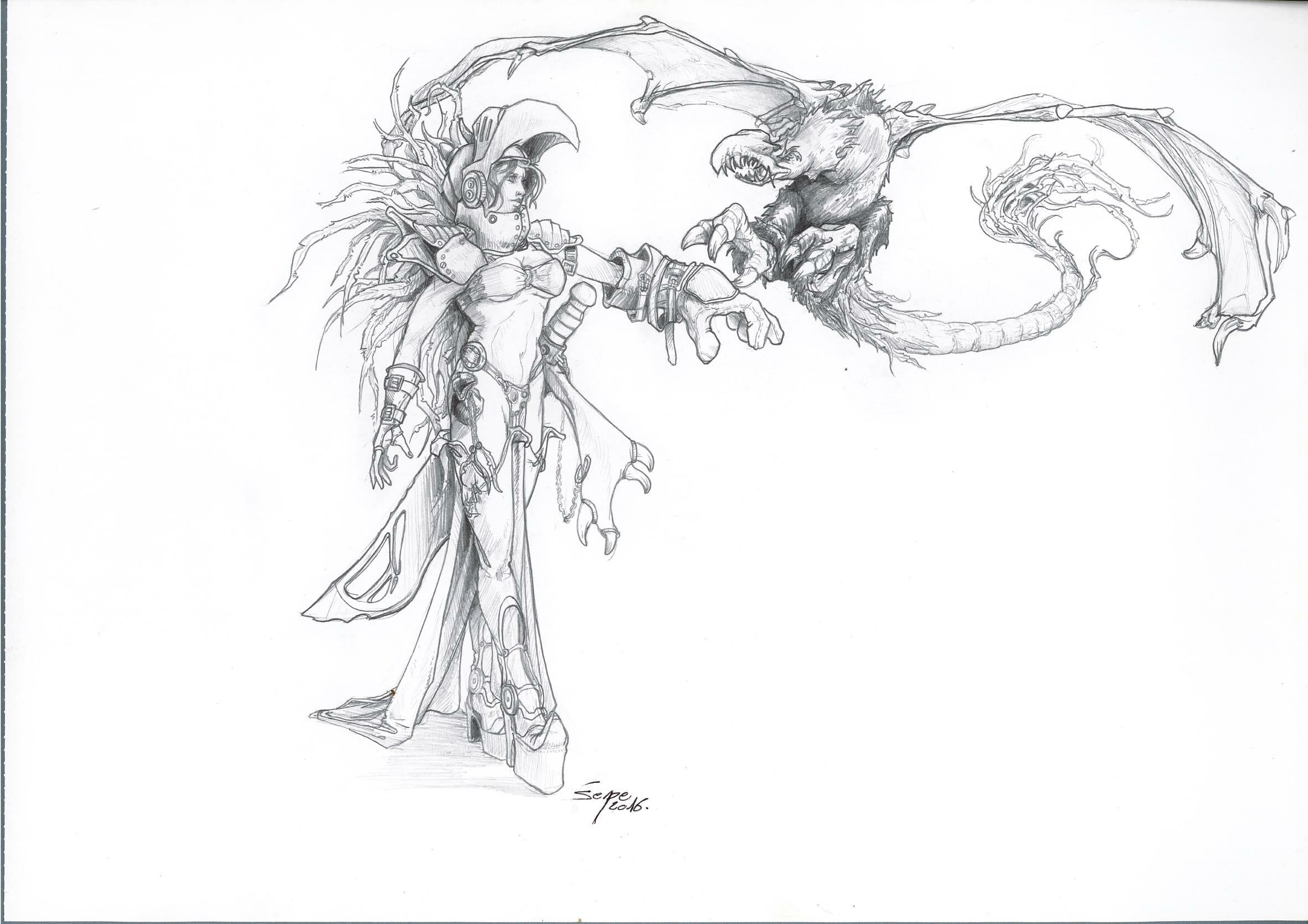 dessin d'une dragonnière avec son dragon