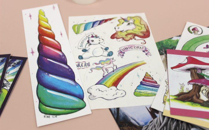 contreparties de Nina Lopez, marque page et stickers licornes