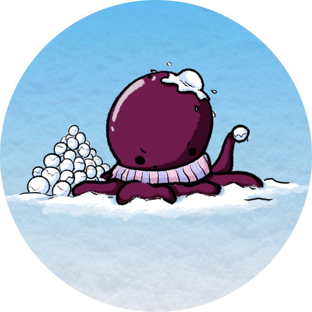 la pieuvre polypouce dans une bataille de boules de neige en icone