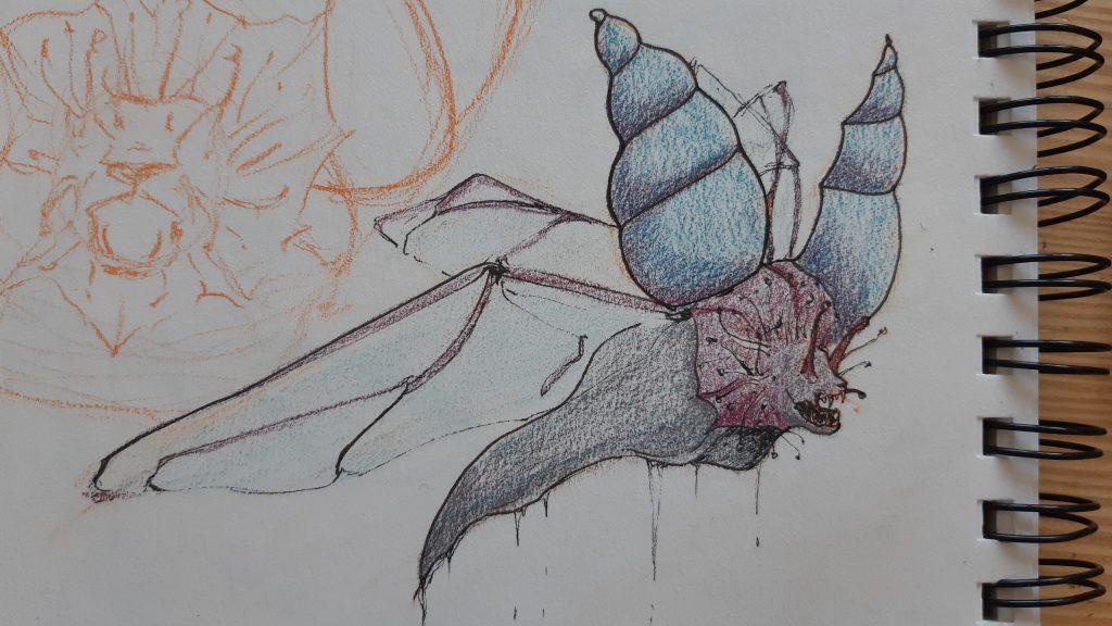 dessin d'une chimère composée d'un corps d'escargot, d'ailes de coléoptère à tête de lion