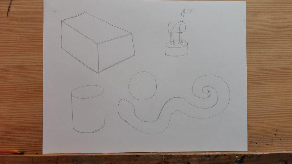 dessin d'apprentissage mise en volume, dessin en fil de fer