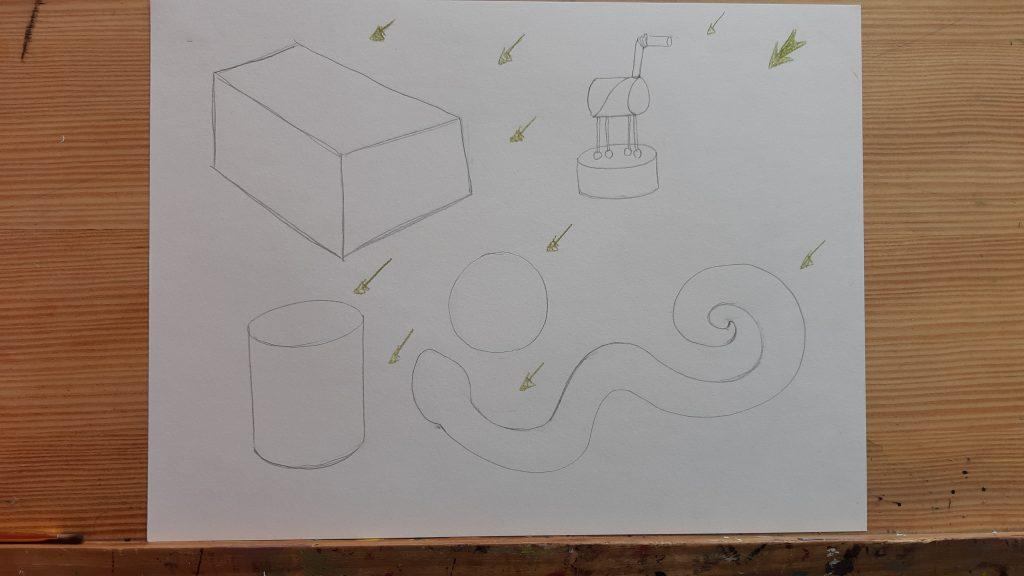 dessin d'apprentissage mise en volume, dessin en fil de fer et flêches de directions de la lumière