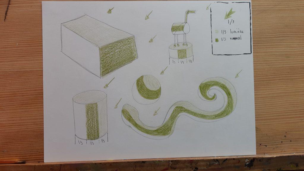 dessin d'apprentissage mise en volume, dessin avec couleurs lumière et couleur neutre