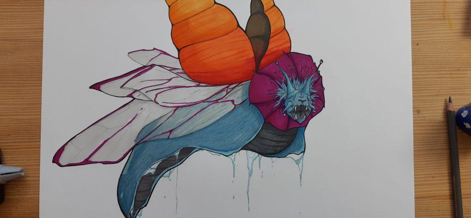 Dessin d'une chièmere escargot, lion, coléopthère, ici en vol
