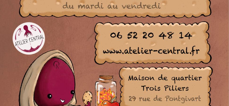 Affiche stage de dessin vacances de la Toussaint avec les dates heures et Poulpi